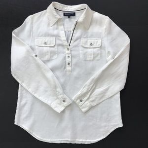 Jones New York Linen White Top Blouse Shirt size M